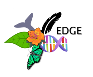 EDGE logo consisting of a butterfly, hisbiscus flower and leaf, a tail fin and a feather all coming out of rainbow colored DNA with the word EDGE